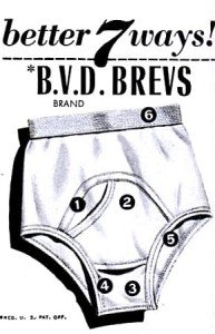 An advertisement for vintage BVD underpants
